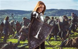 Preview wallpaper Blonde girl, warrior, armor, war