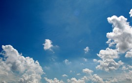 Preview wallpaper Blue sky, white clouds, nature landscape
