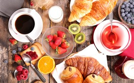 Breakfast, bread, strawberry, coffee, kiwi