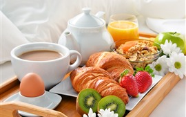 Preview wallpaper Breakfast, croissant, strawberry, coffee, kiwi, eggs