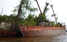 Сломанный корабль, река