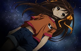 Preview wallpaper Brown hair anime girl, starry, night
