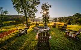 Chairs, stones, trees, morning, sun rays