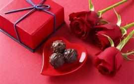 Chocolate, presente, rosas vermelhas, românticas