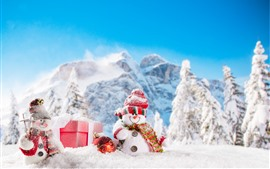 Preview wallpaper Christmas, snowmen, snow, trees, mountains, winter