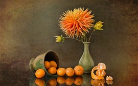 Preview wallpaper Chrysanthemum, tangerines, vase, cup, still life