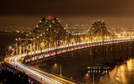 미리보기 배경 화면 도시, 다리, 조명, 밤