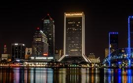 Noite da cidade, arranha-céus, rio, ponte, luzes, EUA