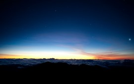 Nubes, cielo, mañana, estrellas