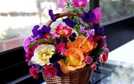 Красочные цветы, корзина, окна