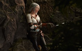 Preview wallpaper Cosplay girl, sword, The Witcher 3: Wild Hunt