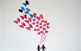 Preview wallpaper Couple, love hearts, butterfly, romantic