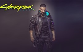 Preview wallpaper Cyberpunk 2077, man, gun