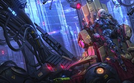 Preview wallpaper Cyberpunk, cyborg girl, skyscrapers, fantasy art