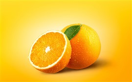 Preview wallpaper Delicious oranges, fruit, water droplets