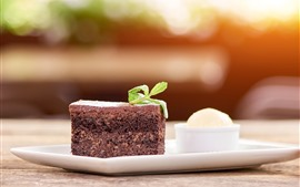 Preview wallpaper Dessert, one slice chocolate cake, mint