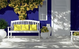 Preview wallpaper Door, bench, pillow, yellow roses, sunlight