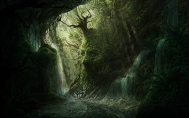 Preview wallpaper Forest, trees, waterfalls, face, creative picture