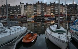 Preview wallpaper France, Honfleur, boats, river, buildings, dusk