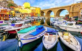 Frankreich, Marseille, Boote, Küste, Brücke