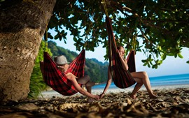 Preview wallpaper Hammocks, girl and boy, tree