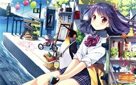 Preview wallpaper Happy anime girls, schoolgirl, sea