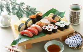 Preview wallpaper Japanese food, sushi, tea