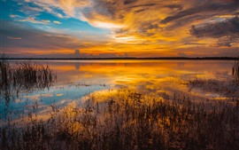 Lake, grass, sunset, clouds, water reflection