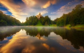 Lake, water reflection, castle, trees, fog, morning