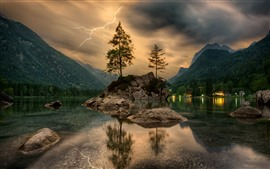 Preview wallpaper Lightning, trees, lake, stones, mountains, houses, lights