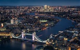 Preview wallpaper London, England, Thames River, Tower Bridge, city night, lights