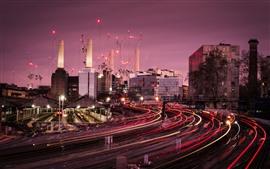 Лондон, вокзал, легкие линии, город, здания, Великобритания