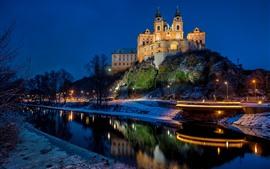Melk Abbey, Áustria, rio, árvores, neve, noite, luzes