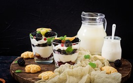 Preview wallpaper Milk, yogurt, berries, cookies, dessert