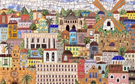 Mosaic painting, wall, city, Jerusalem