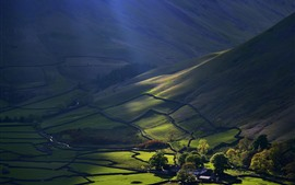 Mountains, slope, fields, green, countryside, sun rays