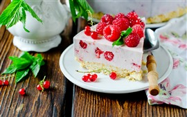 Preview wallpaper One slice of cake, raspberry, dessert, spoon