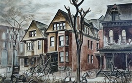 Painting, city, houses, tree, art picture