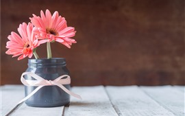 Preview wallpaper Pink chrysanthemum, vase, wood board