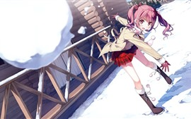 Rosa cabelo anime menina jogar neve