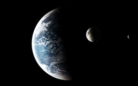 Preview wallpaper Planets, space, black background