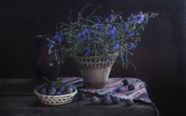 Preview wallpaper Plums and blue cornflowers, darkness