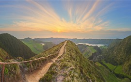 Preview wallpaper Portugal, Azores, trail, fence, mountains, sunset