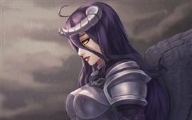 Purple hair fantasy girl, armor, rain