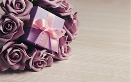 Preview wallpaper Purple rose flowers, gift, ribbon