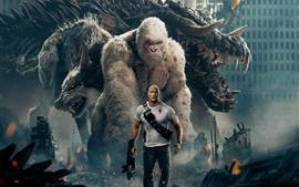 Rampage, Dwayne Johnson, monstro, lobo, orangotango