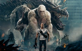 Preview wallpaper Rampage, Dwayne Johnson, monster, wolf, orangutan