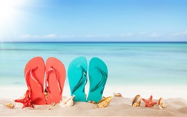 Preview wallpaper Red and blue slippers, sands, starfish, sea
