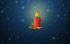 Red candle, flame, snowflakes, vector picture