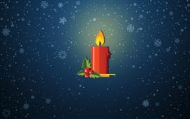 Красная свеча, пламя, снежинки, векторное изображение